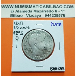 ESTADOS UNIDOS 1/2 DOLAR 1895 O BARBER y AGUILA KM.116 MONEDA DE PLATA MBC- @AÑO RARO@ USA silver Half Dollar