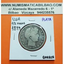 ESTADOS UNIDOS 1/2 DOLAR 1899 BARBER y AGUILA KM.116 MONEDA DE PLATA MBC- @ESCASA@ USA silver Half Dollar