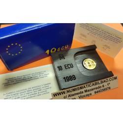 ESPAÑA 10 ECU 1989 COLUMNAS DE HERCULES y PLUS ULTRA MONEDA DE ORO 1/10 ONZA 3,11 gramos ESTUCHE FNMT 10 ECUS 1989