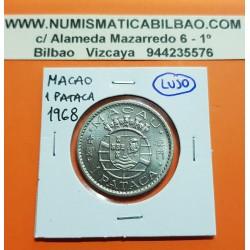 MACAO 1 PATACA 1968 ESCUDO NACIONAL KM.6 MONEDA DE NICKEL SC República Portuguesa MACAU