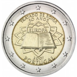 PORTUGAL 2 EUROS 2007 TRATADO DE ROMA 50 ANIVERSARIO SC MONEDA CONMEMORATIVA BIMETALICA