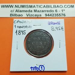 CANADA 1 CENTAVO 1895 REINA VICTORIA KM.7 MONEDA DE COBRE MBC++ 1 Cent copper coin