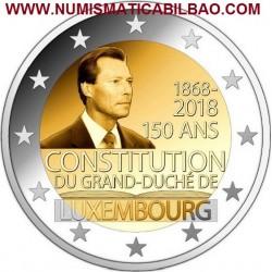 LUXEMBURGO 2 EUROS 2018 CONSTITUCION DEL GRAN DUQUE SC MONEDA CONMEMORATIVA Luxembourg 2 Euro coin