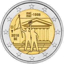 @RARA@ BELGICA 2 EUROS 2018 REVOLUCION DE MAYO DE 1968 50 ANIVERSARIO SC MONEDA CONMEMORATIVA EN COINCARD COIN Belgium Belgien
