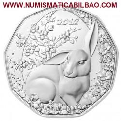 AUSTRIA 5 EUROS 2018 CONEJO DE PASCUA MONEDA DE PLATA SC Osterreich 5 Euro silver coin WAS HÖR ICH DA?
