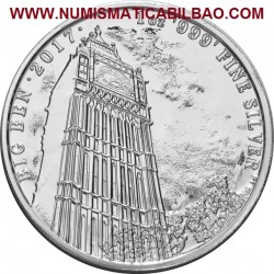 @1 ONZA 2017@ INGLATERRA 2 LIBRAS 2017 LANDMARKS OF BRITAIN 1ª MONEDA BIG BEN PLATA PURA SC 2 Pounds silver OZ