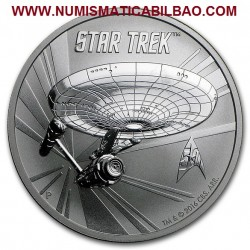 @RARA@ TUVALU 1 DOLAR 2016 STAR TREK USS ENTERPRISE MONEDA DE PLATA PURA SC $1 Dollar coin 1 ONZA 2016 OZ OUNCE