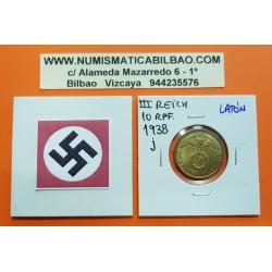GERMANY DRITTES REICH 10 REICHSPFENNIG 1938 J BRASS UNC