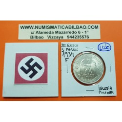 @LUJO@ ALEMANIA 5 MARCOS 1934 F IGLESIA DE POSTDAM DONDE SE FUNDO EL PARTIDO NAZI MONEDA DE PLATA III REICH 5 Reichsmark