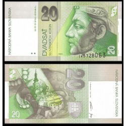 ESLOVAQUIA 20 KORUN 1999 REY PRIBINA Color Verde Pick 20D BILLETE SC Slovakia UNC BANKNOTE