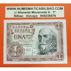 ESPAÑA 1 PESETA 1953 MARQUES DE SANTA CRUZ Serie I Pick 144 BILLETE SC SIN CIRCULAR Spain banknote