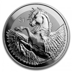 @1 ONZA 2018@ BRITISH VIRGIN ISLANDS 1 DOLAR 2018 DIOSA ATENEA y CABALLO PEGASO MONEDA DE PLATA SC OZ OUNCE silver coin PEGASUS