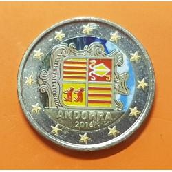 @COLORES@ ANDORRA 2 EUROS 2014 ESCUDO DEL PRINCIPADO @RARA@ SC MONEDA BIMETALICA 1ª AÑO DE EMISION