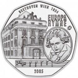 AUSTRIA 5 EUROS 2005 BEETHOVEN y EDIFICIO DE LA OPERA EN VIENA MONEDA DE PLATA SC Österreich silver euro coin
