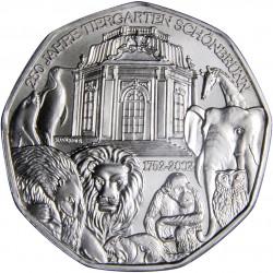 AUSTRIA 5 EUROS 2002 ZOO PLATA SIN CIRCULAR SILVER UNC