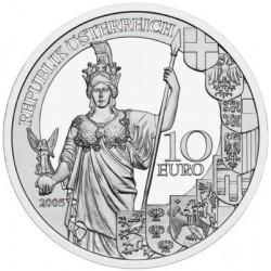 AUSTRIA 10 EUROS 2005 REPUBLICA 60 ANIVERSARIO MONEDA DE PLATA SC Österreich 60 JAHRE ZWEITE