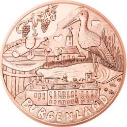 AUSTRIA 10 EUROS 2015 REGION DE BURGENLAND PELICANO y VIÑEDOS MONEDA DE COBRE SC Österreich euro coin