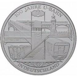 ALEMANIA 10 EUROS 2002 Ceca D MONEDA DE PLATA SC SILVER EURO COIN 100 AÑOS DEL TRANVIA