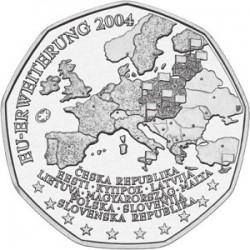 AUSTRIA 5 EUROS 2004 MAPA DE EUROPA AMPLIACION DE LA UNION EUROPEA MONEDA DE PLATA SC Österreich euro silver coin