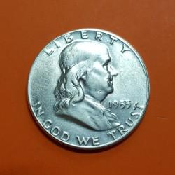 ESTADOS UNIDOS 1/2 DOLAR 1955 P BENJAMIN FRANKLIN y CAMPANA KM.163 MONEDA DE PLATA SC USA Half silver dollar