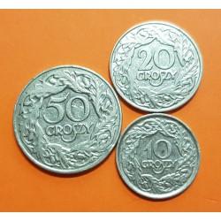 @3 MONEDAS@ POLONIA 10 + 20 + 50 GROSZY 1923 AGUILA DE LA II REPUBLICA KM.11+12+13 MONEDA DE NICKEL EBC Poland post WWI coin