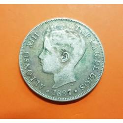 @FALSO DE EPOCA s.XIX@ ESPAÑA 5 PESETAS 1897 MSM Rey ALFONSO XIII MONEDA DE PLATA KM.707 (DURO SEVILLANO) Spain