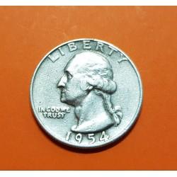 ESTADOS UNIDOS 1/4 DOLAR 1954 D PRESIDENTE GEORGE WASHINGTON KM.164 MONEDA DE PLATA MBC USA silver Quarter Dollar