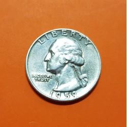 ESTADOS UNIDOS 1/4 DOLAR 1959 P PRESIDENTE GEORGE WASHINGTON KM.164 MONEDA DE PLATA MBC USA silver Quarter Dollar