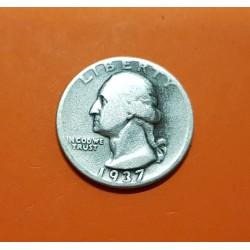 ESTADOS UNIDOS 1/4 DOLAR 1937 D PRESIDENTE GEORGE WASHINGTON KM.164 MONEDA DE PLATA MBC- @ESCASA@ USA silver Quarter Dollar