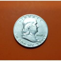 ESTADOS UNIDOS 1/2 DOLAR 1948 D BENJAMIN FRANKLIN y CAMPANA KM.163 MONEDA DE PLATA MBC USA Half silver dollar