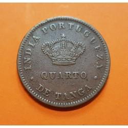 INDIA PORTUGUESA 1/4 TANGA 1886 REY LUIS I KM.8 MONEDA DE BRONCE @ESCASA@ India Portugueza et Algarve QUARTO