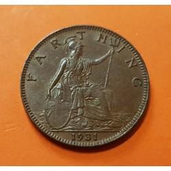 INGLATERRA 1 FARTHING 1931 REY JORGE V y BRITANNIA KM.825 MONEDA DE BRONCE EBC United Kingdom Great Britain