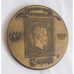 . 1 MEDALLA ESPAÑA 5 PESETAS 1871 CENTENARIO DEL DURO AMADEO I