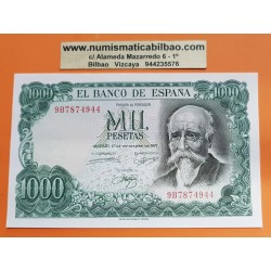 @RARA SERIE 9B@ ESPAÑA 1000 PESETAS 1971 JOSE ECHEGARAY 9B7874944 Pick 154 BILLETE SIN CIRCULAR Replacement Serial UNC