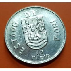 INDIA PORTUGUESA 1/2 RUPIA 1936 ESCUDO ESTADO DA INDIA KM.23 MONEDA DE PLATA @LUJO@ República Portuguesa