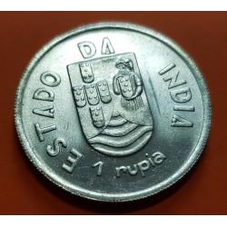 INDIA PORTUGUESA 1 RUPIA 1936 ESCUDO ESTADO DA INDIA KM.24 MONEDA DE PLATA @LUJO@ República Portuguesa