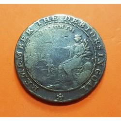 INGLATERRA 1/2 PENIQUE 1793 TOKEN JOHN HOWARD REMEMBERS THE DEBTORS IN JAIL MONEDA DE COBRE United Kingdom Halfpenny