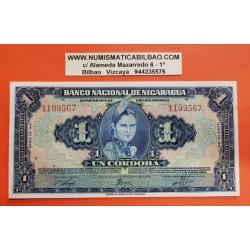 NICARAGUA 1 CORDOBA 1941 MANAGUA DAMA y ESCUDO Pick 90A BILLETE LUJO @RARO@ UNC AMERICAN BANKNOTE COMPANY