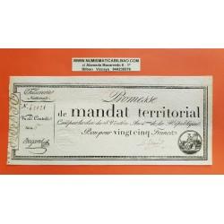 @RARO@ FRANCIA 25 FRANCOS 1796 PROMESSE DE MANDAT TERRITORIAL AÑO 4 DE LA REPUBLICA BILLETE SC Pick A83B France 25 Francs