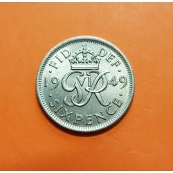 INGLATERRA 6 PENIQUES 1949 ESCUDO y SIGLAS DEL REY JORGE VI KM.875 MONEDA DE NICKEL SC UK 6 pence coin
