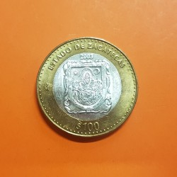 MEXICO 100 PESOS 2003 ESTADO DE ZACATECAS KM.688 MONEDA BIMETALICA PLATA + LATON SC Mejico Mexiko silver coin