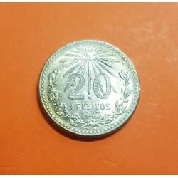 MEXICO 20 CENTAVOS 1943 AGUILA y VALOR KM.438 MONEDA DE PLATA SC Mejico Mexiko silver coin