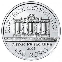 AUSTRIA 1,50 EUROS 2008 FILARMONICA MONEDA DE PLATA SC 1 ONZA OZ OUNCE Österreich silver Philharmonic 1º AÑO DE EMISION