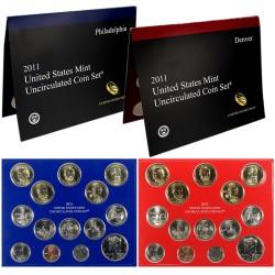 2011 UNITED STATES MINT UNCIRCULATED COIN SET D+P 28 COINS ESTADOS UNIDOS 1+5+10+25 CENTAVOS + 1/2 DOLAR + 1 DOLAR PRESIDENTES
