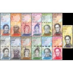 @13 BILLETES@ VENEZULA 2 BOLIVARES 2013 a 100000 BOLIVARES 2013 PERSONAJES SIN CIRCULAR EPOCA DE HIPER INFLACION
