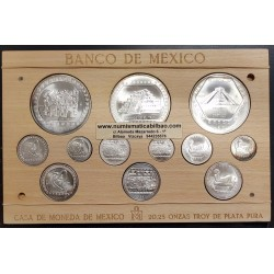 20,25 ONZAS DE PLATA PURA x MEXICO 1/4+1/2+1+10 ONZAS 1992 1993 1994 silver GUERRERO AGUILA + TAJIN + CHAAC MOOL