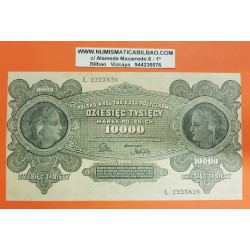 POLONIA 10000 MAREK 1922 DAMAS y AGUILA Epoca de INFLACION Pick 32 @ERROR MARGENES MAL CORTADOS@ Poland BANKNOTE