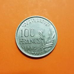 FRANCIA 100 FRANCOS 1954 COCHET DAMA y VALOR KM.919 MONEDA DE NICKEL EBC France 100 Francs