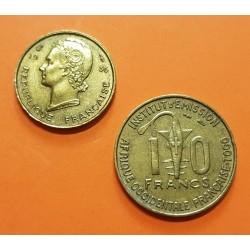 @2 MONEDAS@ TOGO 10 FRANCOS 1957 KM.8 + AFRICA DEL OESTE 5 FRANCOS 1956 KM.5 LATON Afrique Occidentale Francaise