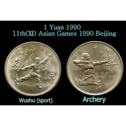 @2 MONEDAS@ CHINA 1 YUAN 1990 ESGRIMA y ARCO 11 JUEGOS ASIATICOS DE BEIJING REPUBLICA COMUNISTA KM.264+266 NICKEL SC